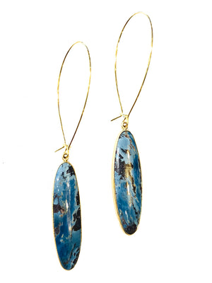 Aztec Lapis Earrings - Metal Options