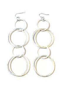 Brushed Silver Statement Earrings