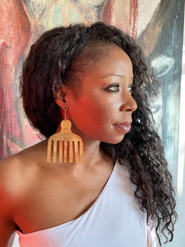 African Comb Statement Earrings