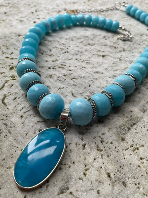 Baby Blue Onyx Necklace