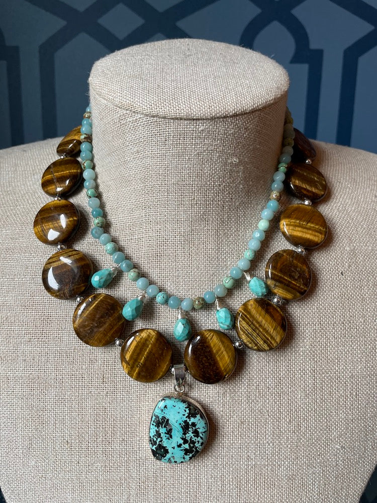 Tigereye & Turquoise Necklace