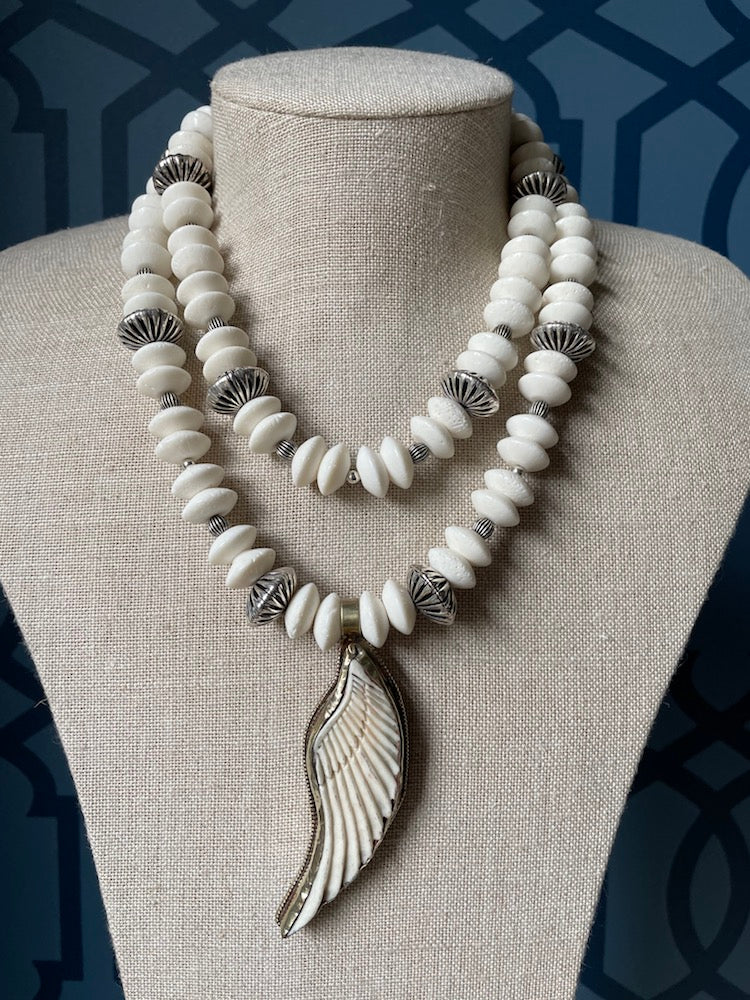 White Coral & Bone Necklace