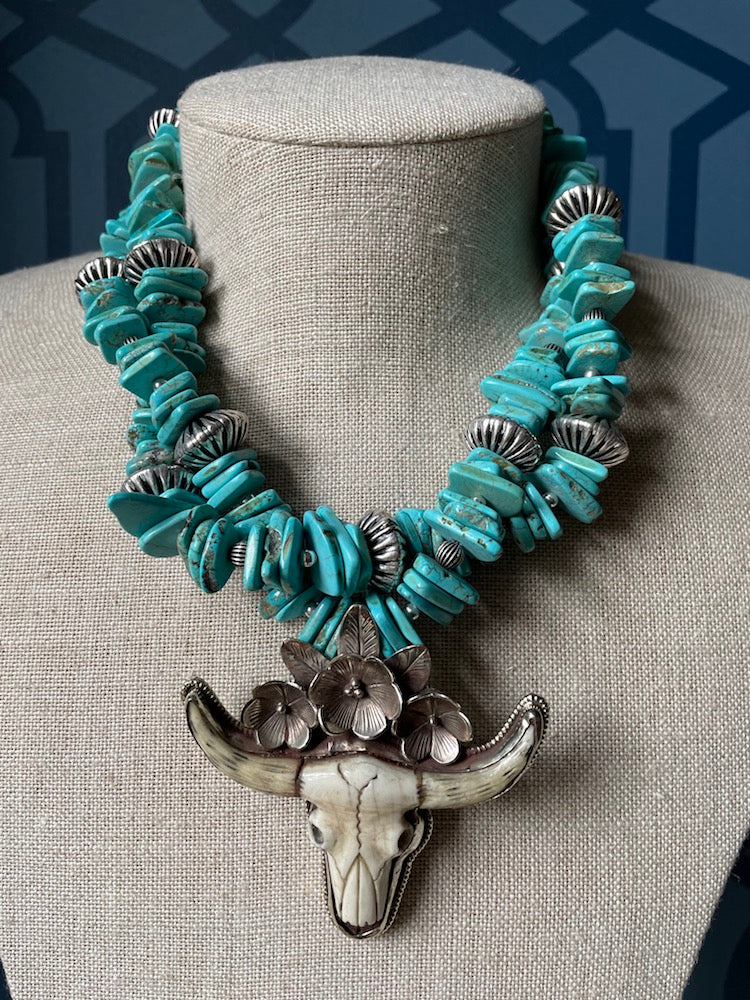 Turquoise & Bone Necklace