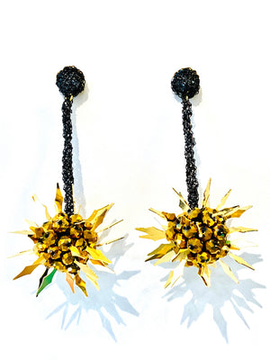 Crochet Spike Earrings - Black / Gold