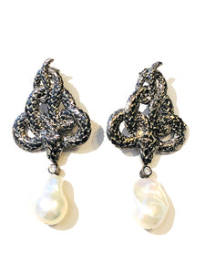 Baroque Pearl Coiled Snake Earrings