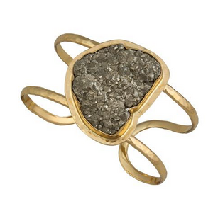 Pyrite Open Cuff - Metal Choices