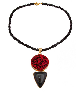 Cinnabar & Obsidian Necklace