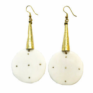Brass Dots Bone Earrings E597