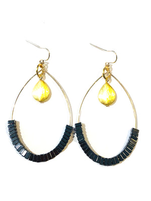 Hematite Wire Loop Earring Gold E54B