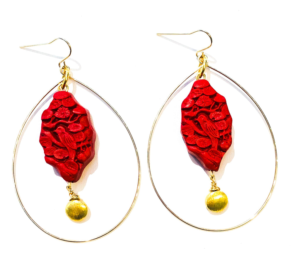 Cinnabar Bird Earrings
