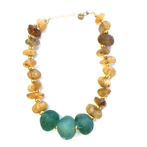 Sea Amber & African Glass Necklace