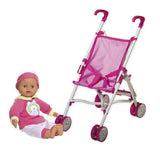 Dolls & Travel - pop en buggy met paraplu -31 cm