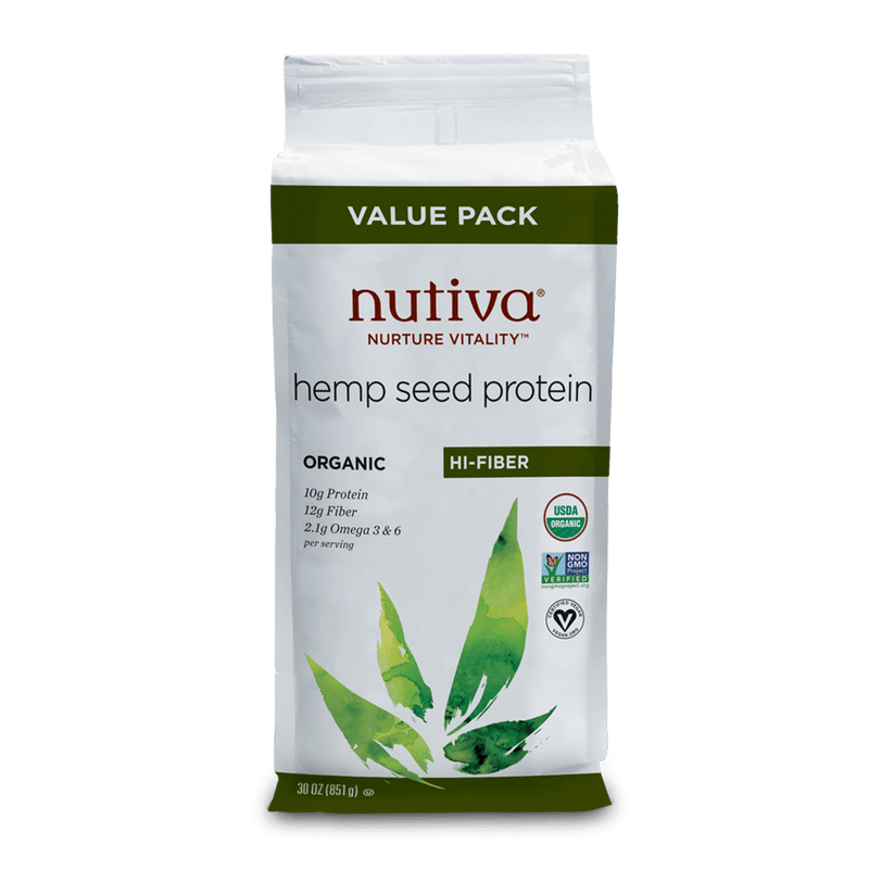 Nutiva Organic Hemp Seed Protein Powder High Fiber 30 oz