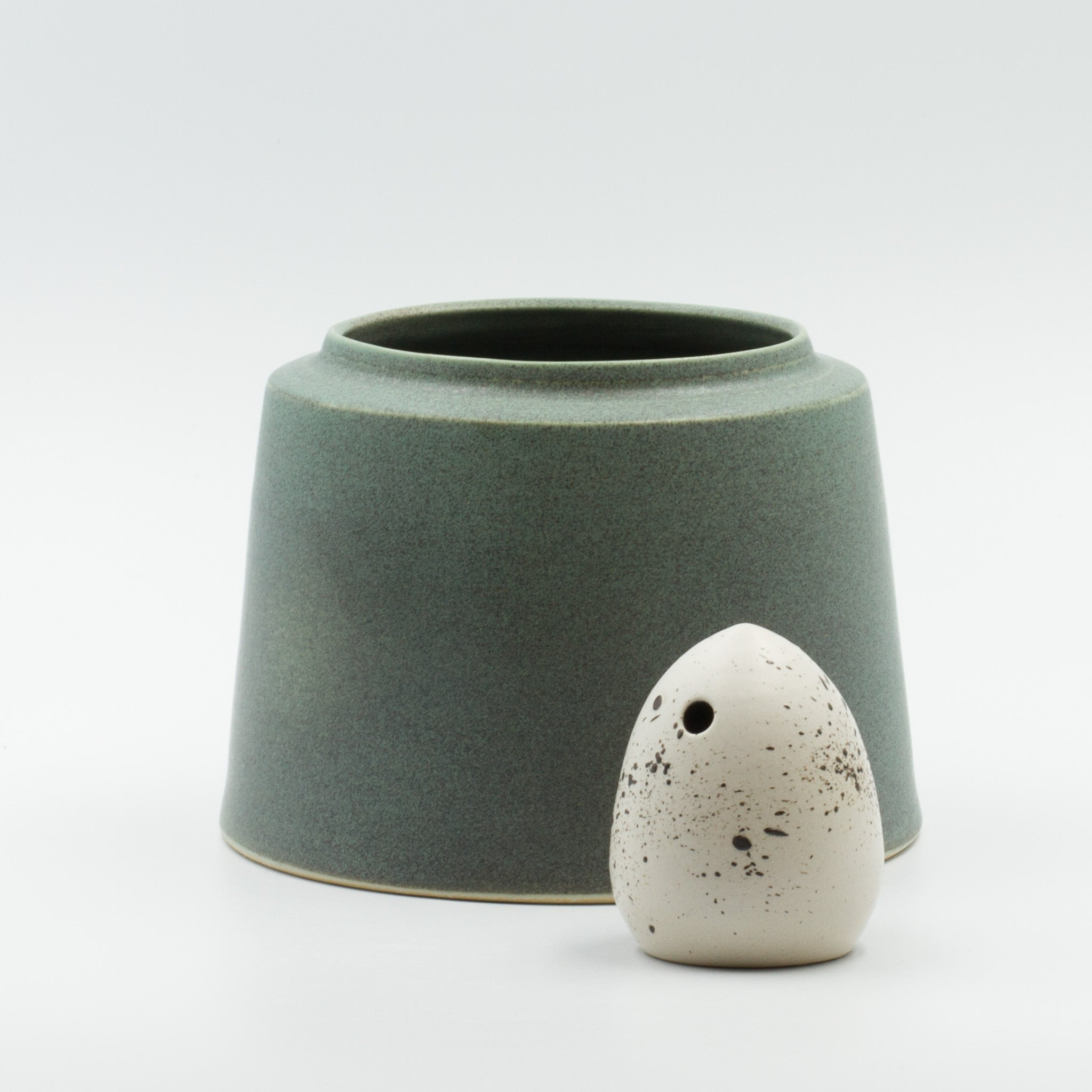 Yarn Vase -grey /green-L