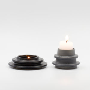 Grey Spindle Candle holder