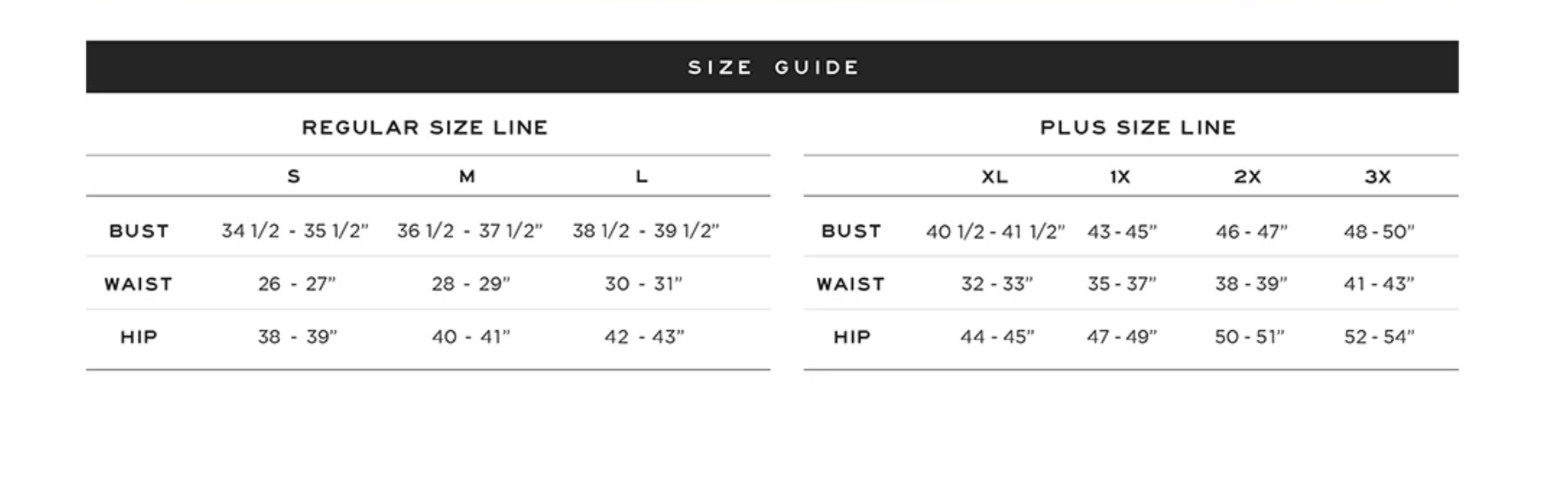 Size Chart and Measurements