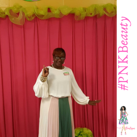 Pink and Green pleated skirt