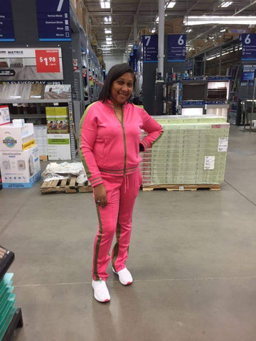 Pink and green tracksuit