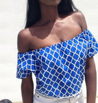 Off shoulder Quatrefoil cotton top