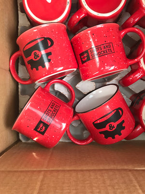 Shots & Sprockets Red Ceramic Campfire Coffee Mug
