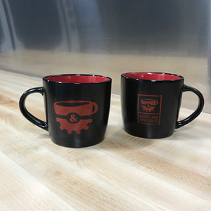 Shots & Sprockets black and red coffee mugs