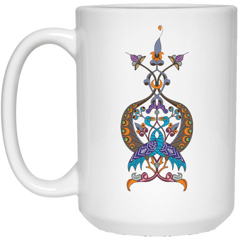 Double Peacock Crest 15 oz. White Mug - shopdiasporina.com