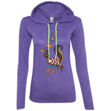 Whimsical Bird Anvil Ladies' LS T-Shirt Hoodie - shopdiasporina.com