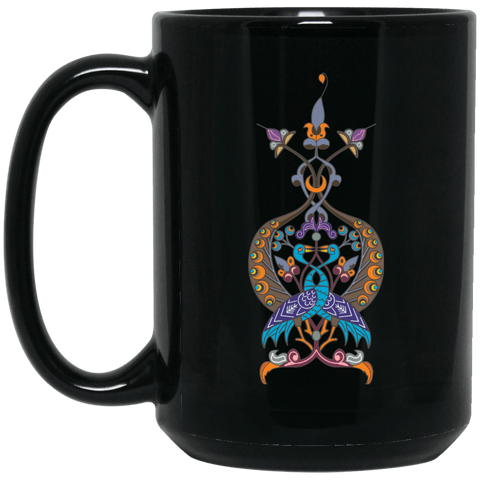 Double Peacock Crest 15 oz. Black Mug - shopdiasporina.com