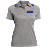 Armenian Flag Embroidered Sport-Tek Ladies' Heather Moisture Wicking Polo - shopdiasporina.com