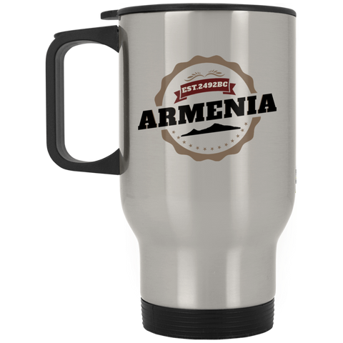 'Armenia 2492' Silver Stainless Travel Mug - shopdiasporina.com