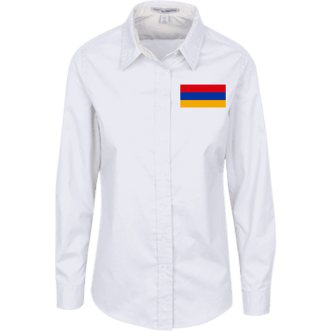 Armenian Flag Embroided Port Authority Ladies' LS Blouse - shopdiasporina.com