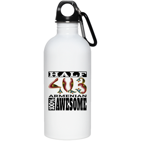 'Half Armenian - 100% Awesome' 20 oz. Stainless Steel Water Bottle - shopdiasporina.com