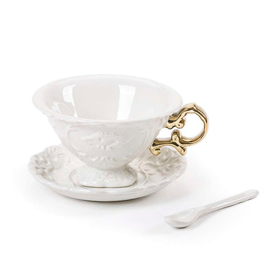 Porcelain Tea Set with Golden Handle