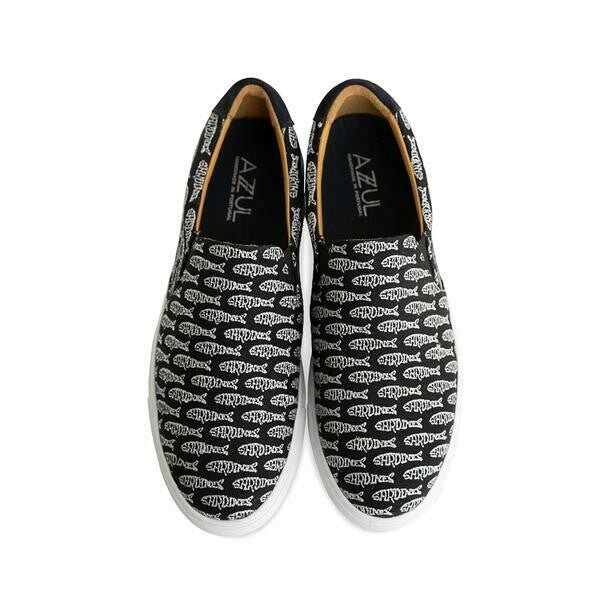 The Faro for Men - Black Canvas Upper Embroidered with Silver Sardines, Slip-on Sneaker with White Margom Sole