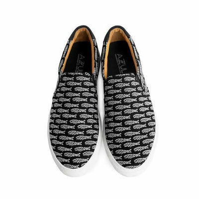 The Faro for Men - Black Canvas Upper Embroidered with White Sardines, Slip-on Sneaker with White Margom Sole - The HiO Life