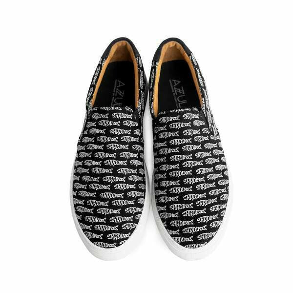 The Faro for Men - Black Canvas Upper Embroidered with White Sardines, Slip-on Sneaker with White Margom Sole