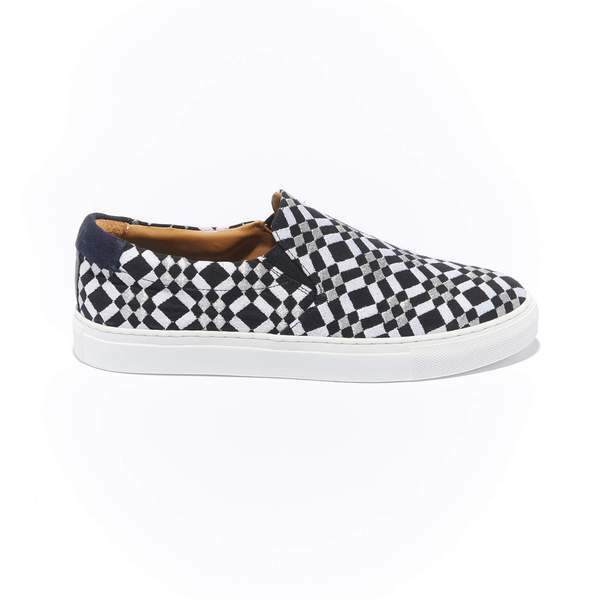 The Faro for Men - Black Canvas Upper Embroidered with Silver and White Geometric Pattern, Slip-on with White Margom Sole
