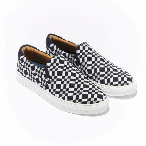 The Faro for Men - Black Canvas Upper Embroidered with Silver and White Geometric Pattern, Slip-on with White Margom Sole - The HiO Life