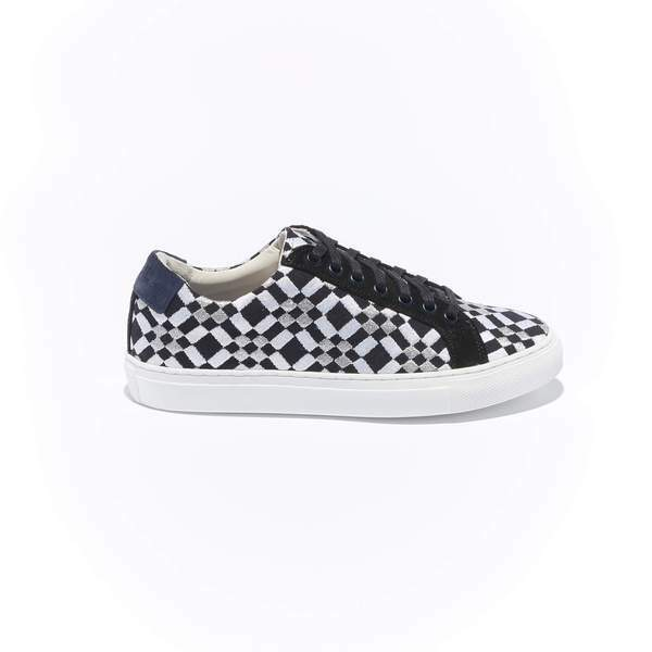 The Layered Braga for Women- Black Canvas Upper Embroidered with White and Silver Geometric Pattern, Suede Trim, Lace-up with White Margom Sole