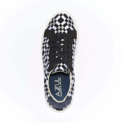 The Layered Braga for Women- Black Canvas Upper Embroidered with White and Silver Geometric Pattern, Suede Trim, Lace-up with White Margom Sole - The HiO Life