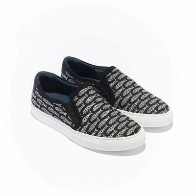 The Trimmed Faro for Women - Black Canvas Upper Embroidered with Silver Sardines, Suede Trim, Slip-on Sneaker with White Margom Sole - The HiO Life