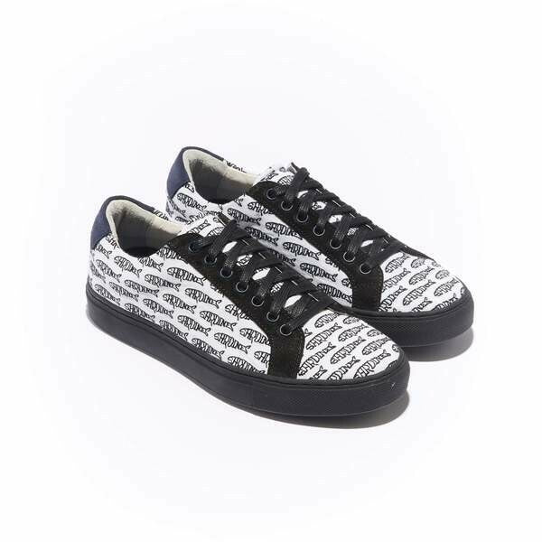 The Layered Braga for Women- White Canvas Upper Embroidered with Black Sardines Upper, Suede Trim, Lace-up with Black Margom Sole