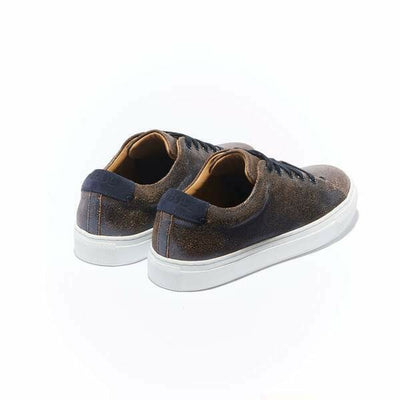 The Classic Braga for Women - Vintage Navy Leather Women's Classic Sneaker with White Margom Sole - The HiO Life