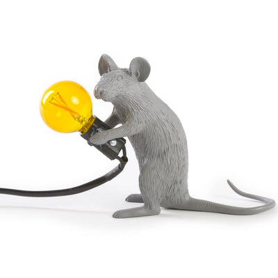 MOUSE LAMP#2-GRAY-US RESIN LAMP - SITTING - The HiO Life