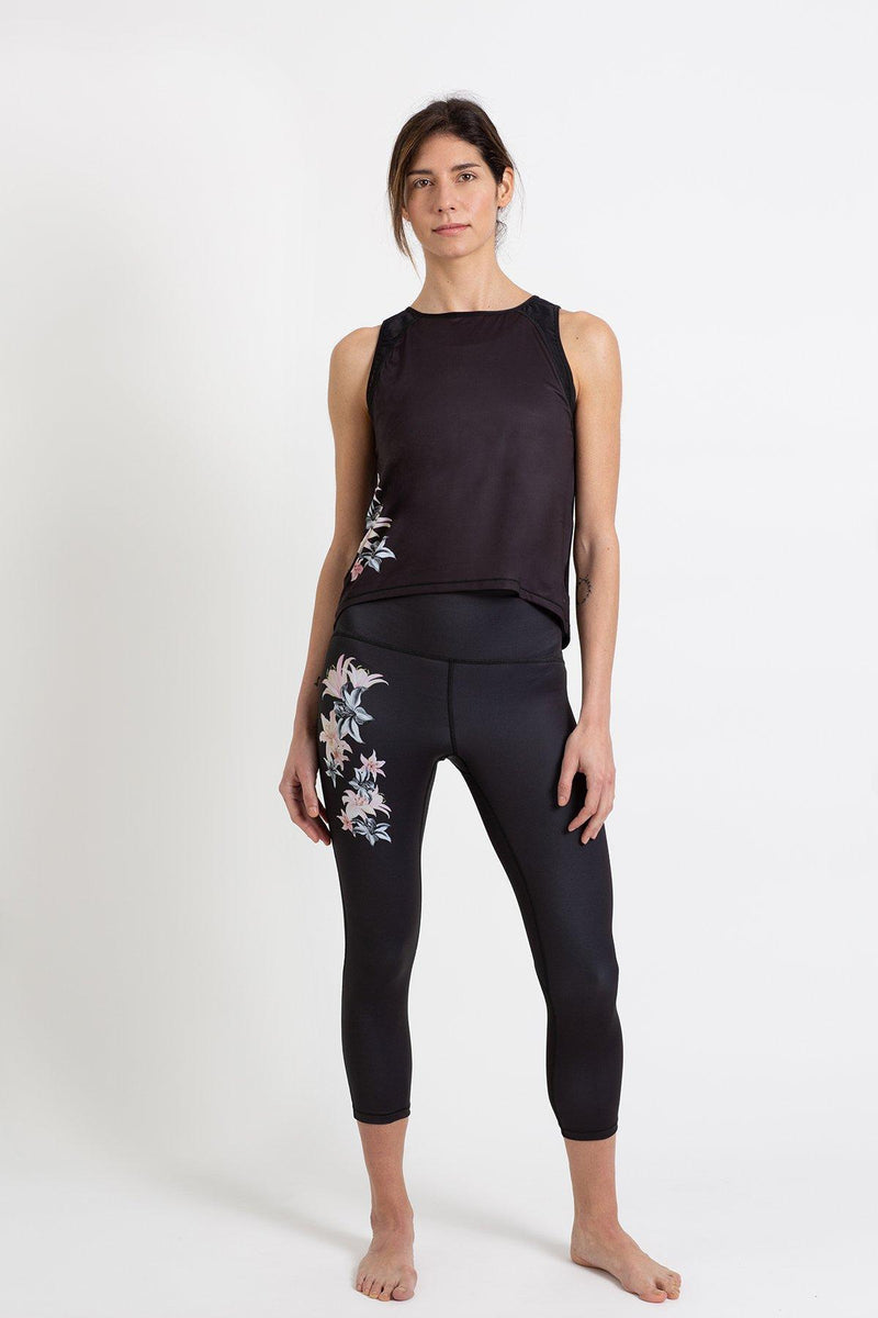 Black leggings with Pink Flower print - The HiO Life