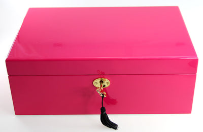 MEDIUM LAQUEREDE WOODEN JEWELLRY  BOX  HOT PINK - The HiO Life