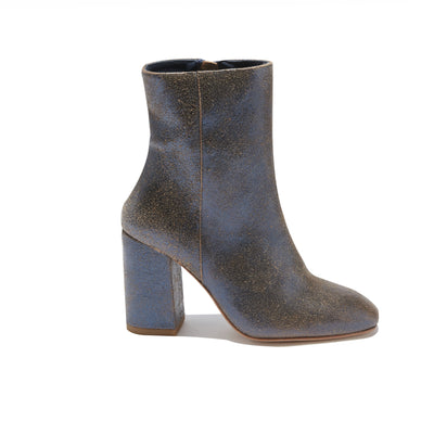 Women's Heeled Short Boot in Vintage Navy Leather - The HiO Life