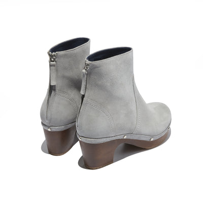 Women's Clog Heeled Boot in Grey Suede - The HiO Life