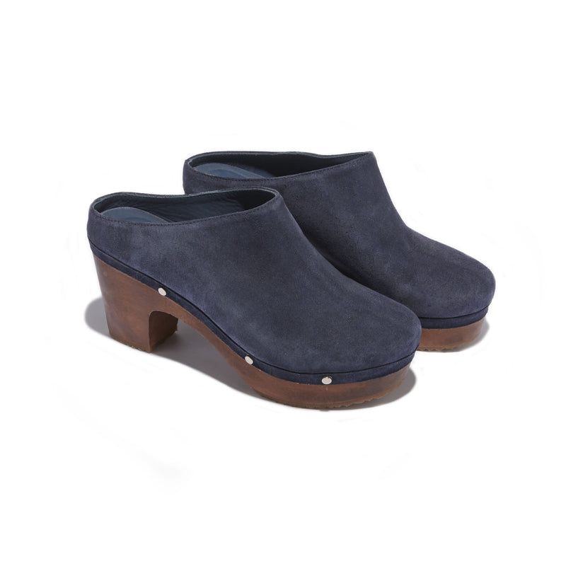 Women's Mule Clog in Navy Suede - The HiO Life
