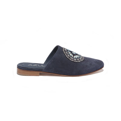Women's Hand Embroidered Mule in Navy Suede - The HiO Life